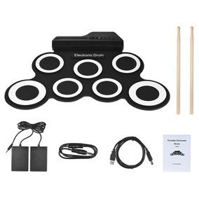Bateria Portátil Eletrônica Digital Silicone Drum Pedal + Nf