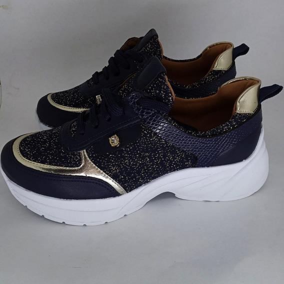 Tênis Chunky Sneaker Azul Orion Detalhe Dourado - Bts