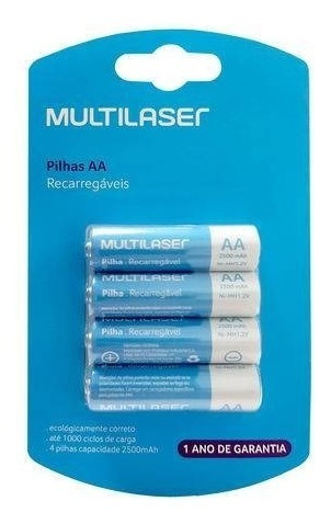 4 Pilhas Recarregável Multilaser Aa 2500mah Original Lacrado