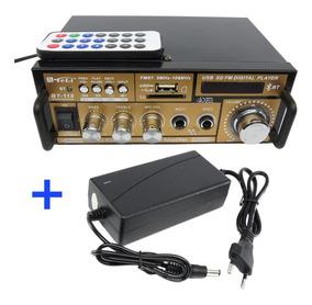 Mini Amplificador Teli Bt118 Bluetooth Karaoke + Fonte 12v