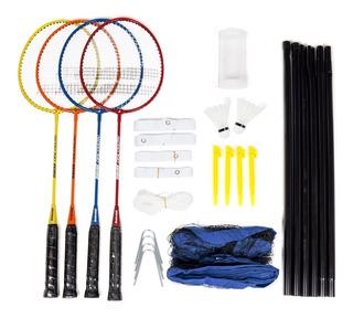 Kit Badminton 4 Raquetes + 2 Petecas + Rede + Campo + Bolsa