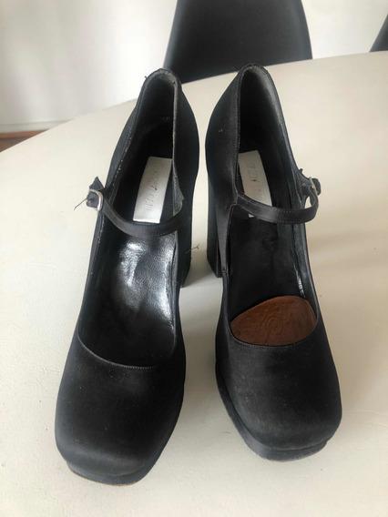Zapatos De Raso Negro Ay Not Deat Mujer 38 Plataforma