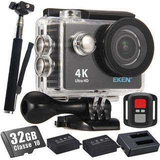 Camera Eken H9r 4k Original 32gb Bastão Carregador+2 Bateria