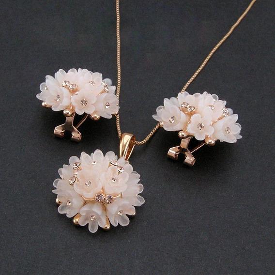 Colar Brincos Flor Cristal E Ouro Rosado 86882
