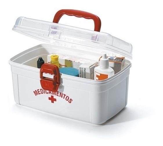 Caixa Organizadora Plástico Para Medicamentos Média Branco