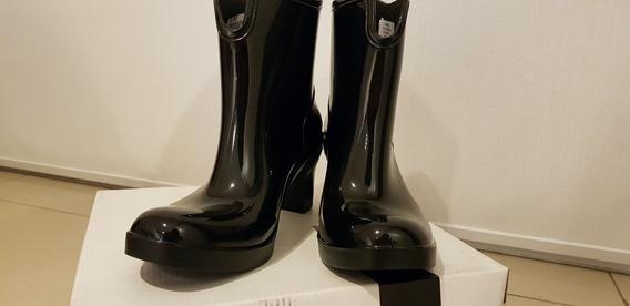 Bota/botineta De Lluvia Para Mujer Blaque Talle 40 En Negro