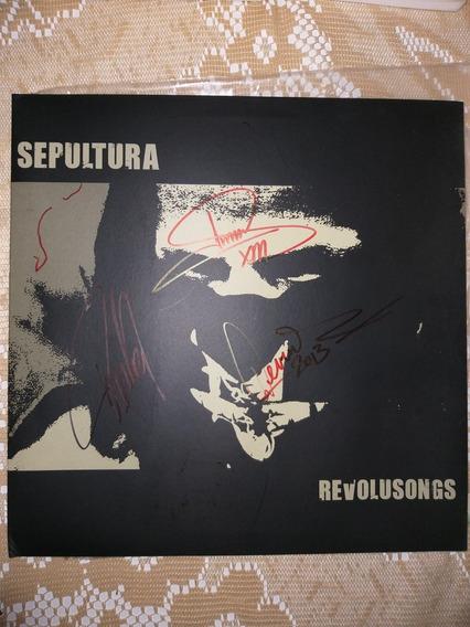 Autografado Por 3 Membros Da Banda Sepultura Lp Ano 2002.