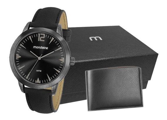 Relógio Mondaine Kit Masculino Preto/couro 53810gpmgph2k1