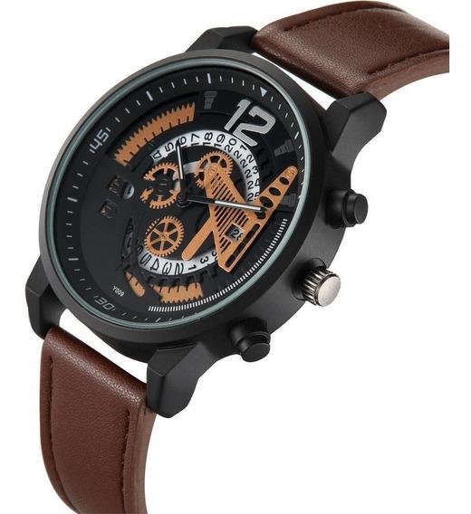 Reloj Marca Soki Modelo Engrane Original Con Fechador Hombre