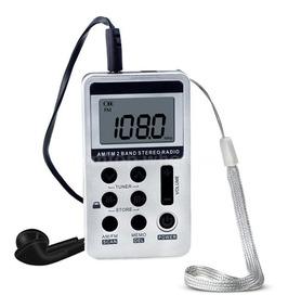 Mini Rádio De Bolso Digital Am/fm Recarregável Prata