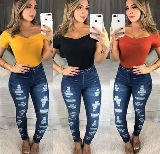 Body Canelado Feminino Ombro A Ombro Manguinha Super Na Moda
