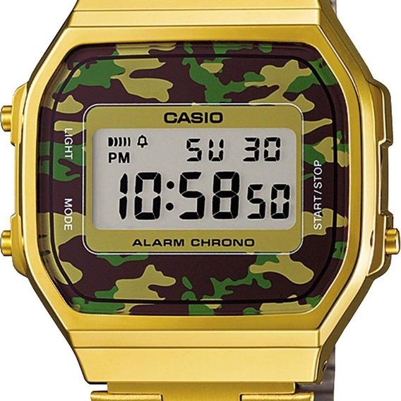 Relógio Casio Unissex Vintage Dourado Camuflado Top
