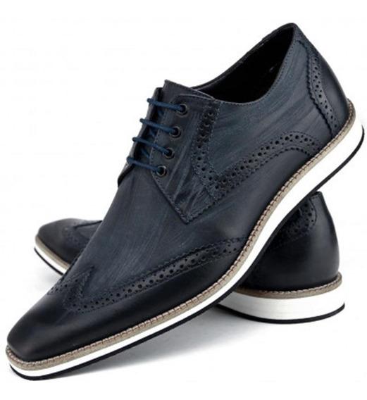 Sapato Masc Oxford Esporte Fino Stone Couro Legítimo Azul