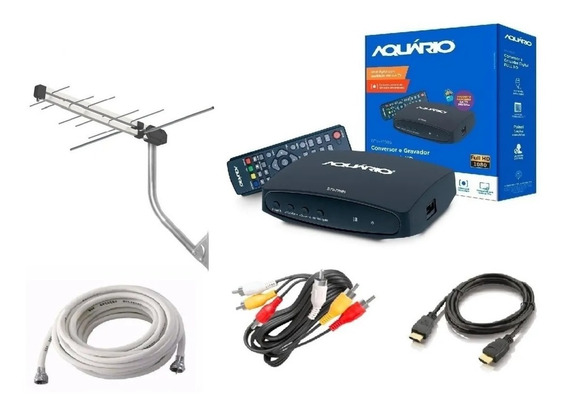 Kit Conversor Digital Terrestre Full Hd + Antena Externa + Cabo Rg6 Ou Rg59 Montado