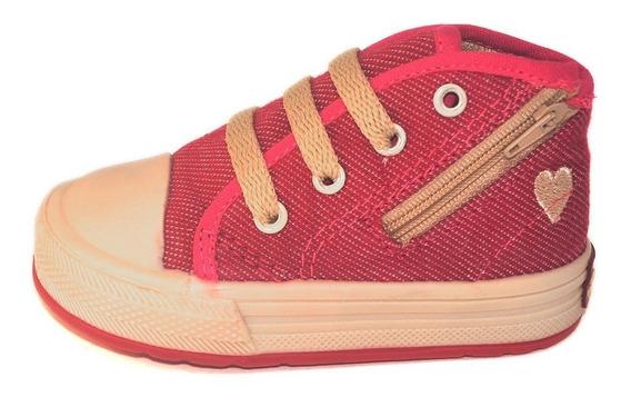 Botita Bebe Jean Guinda Con Cierre Small Shoes Envío Gratis