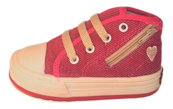 Botita Bebe Jean Guinda Con Cierre Small Shoes