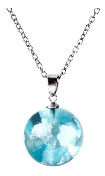 Collar Cachito De Cielo Azul Y Nubes Atrapadas En Esfera