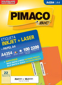 Etiqueta Ink-jet/laser A4354 Pimaco 100 Fohas 2200 Etiquetas