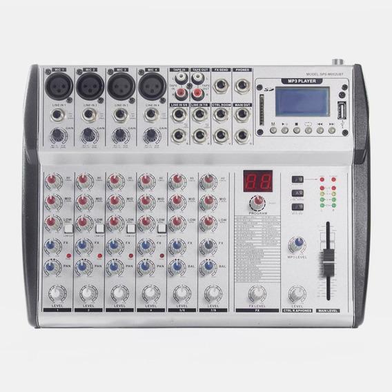 Consola De Audio Profesional Sps M802ubt 8 Ch Usb Bluetooth