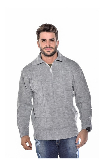 Blusa Lã Masculina Manga Longa Frio Colarinho Ref 125