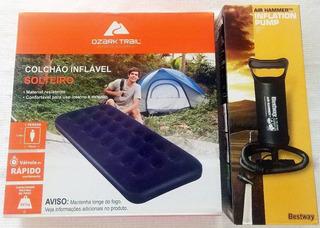Colchão Inflável Solteiro Ozark Trail + Inflador Bestway