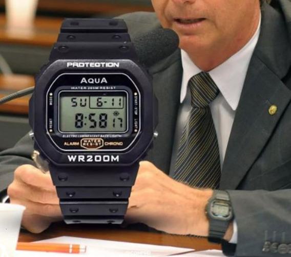 Relógio Jair Bolsonaro Promoção Original Aqua Wr200m Mito