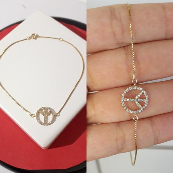 Pulseira Diamantes E Ouro 18k 750 Símbolo Da Paz Original