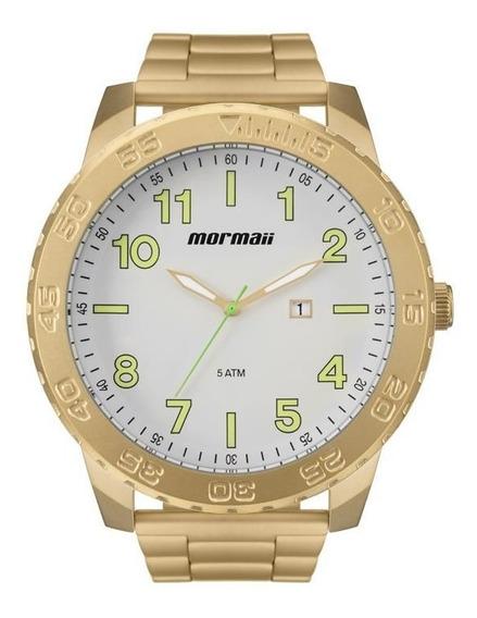 Relógio Mormaii Masculino Ref: Mo2115be/4b Big Case Dourado