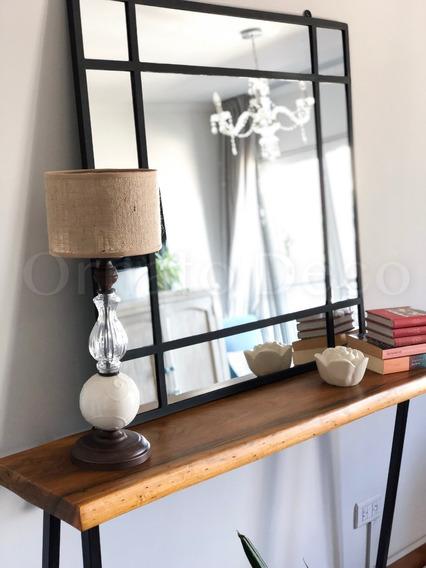 Espejo De Hierro Negro Vidrio Repartido
