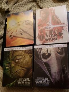 Coleção Steelbook Blu Ray Star Wars 4 Filmes Dublado Pt Br