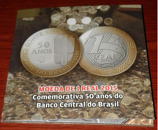 Arremate Blister Cartela 1 Real 2015 50 Anos Banco Central