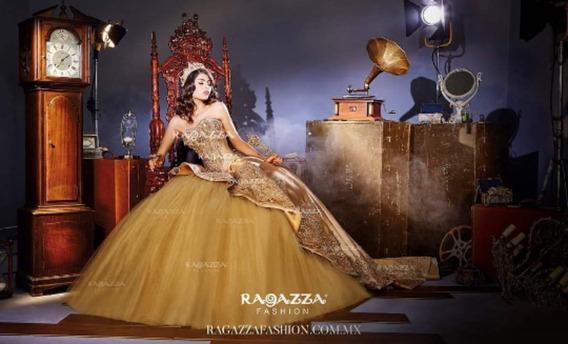 Vestido De Xv De Ragazza Fashion Original Dorado