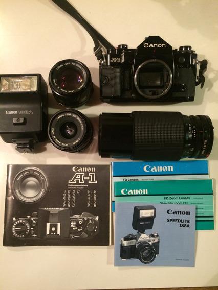 Câmera Fotográfica Canon A-1 Analógica + Lentes E Flash