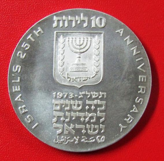 Israel Moneda Plata 10 Lirot 1973 Unc 25 Aniv De Independenc