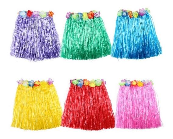 10 Falda Hawaiana Flores Colores Fiesta Disfraz Económica