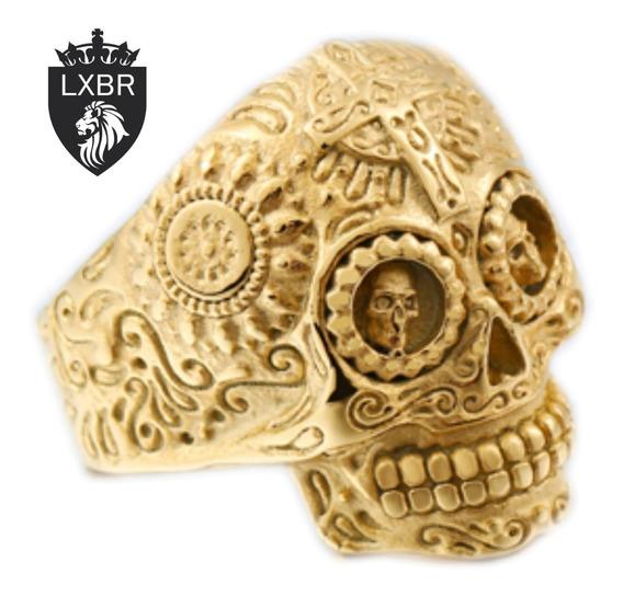 Anel Ouro 18k Dourado Inox Hip Hop Caveira Moto Lxbr A102
