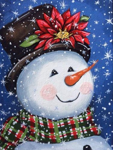 Diy Diamante Muñeco De Nieve Pintura Kits Para Adultos...