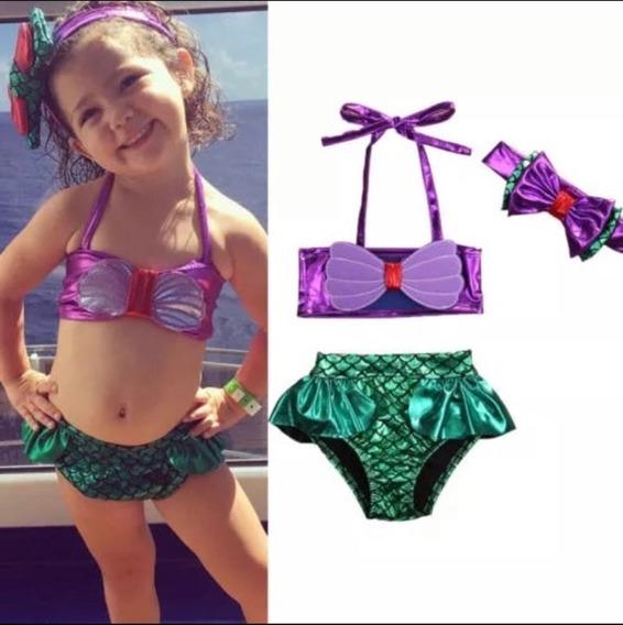 Biquini Sereia Infantil Ariel Princesa Disney