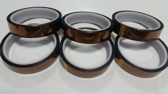 Fita Kapton Isolante Térmica 20 Mm X 33 Mt (kit 6 Rolos)