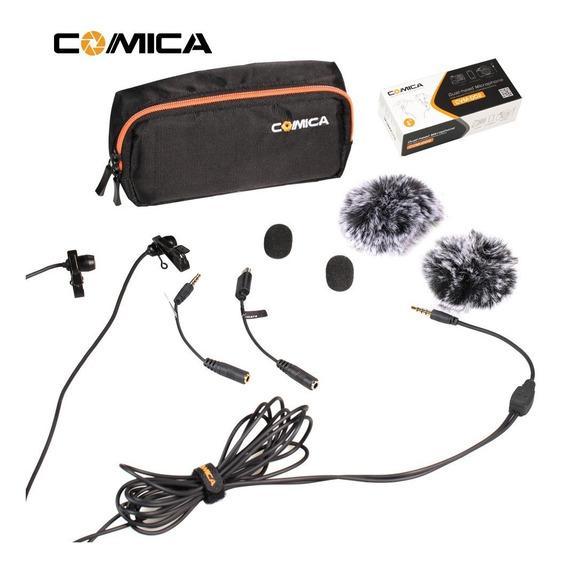 Microfone Lapela Duplo Comica Camera Dslr Smartphone Gopro