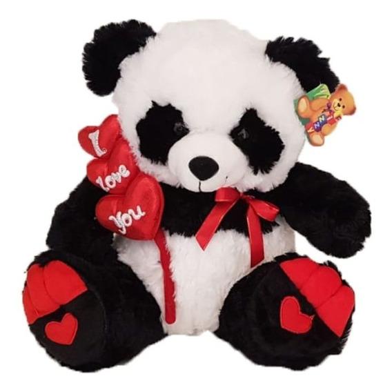Urso Pelúcia Panda 33cm Coração I Love You - Fizzy