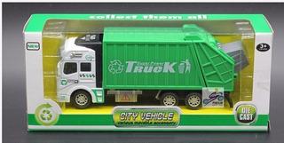 Miniatura 1/32 Caminhão Coleta De Lixo Power Truck Verde