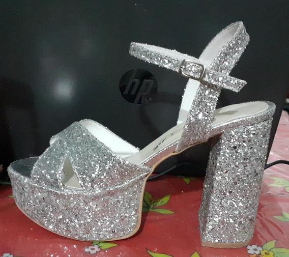 Zapatos De Fiesta Con Brillos Plateados, Taco Alto