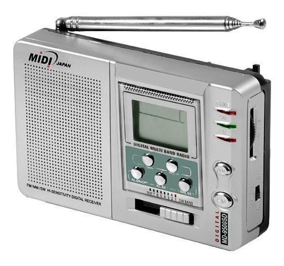 Rádio Portátil Fm Mw Sw1-7 A Pilha Midi Md-9500sd