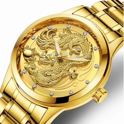 Relógio De Luxo Dragão Quartzo Masculino-frete Grátis