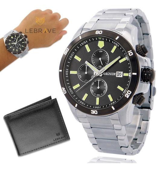 Relógio Masculino Prata Magnum Garantia De 2 Anos + Carteira