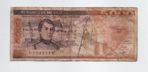 Imagen 1 de 2 de Mexico 5000 Pesos 1987