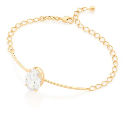 Bracelete Folheado A Ouro Com Zircônia Oval - Rommanel
