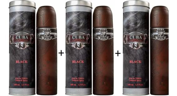 3 Perfumes Cuba Black 100 Ml - Lacrado - Selo Autenticidade Adipec