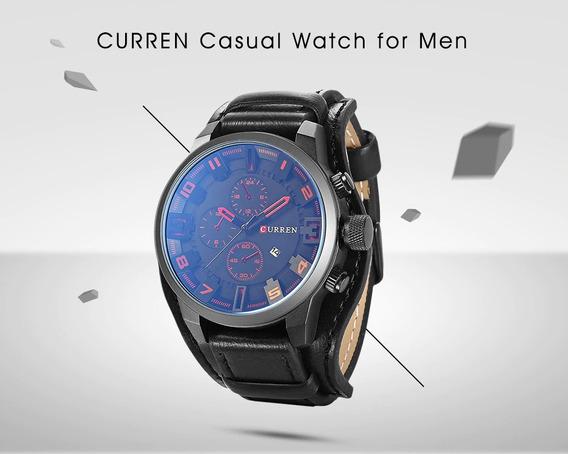Relógio Curren Casual De Couro - Frete Grátis
